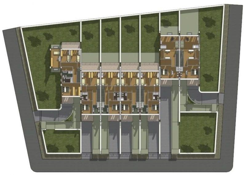 L'image représente une planimétrie du lot des plan de maison mitoyenne, produit par Edificius logiciel de conception architecturale BIM.