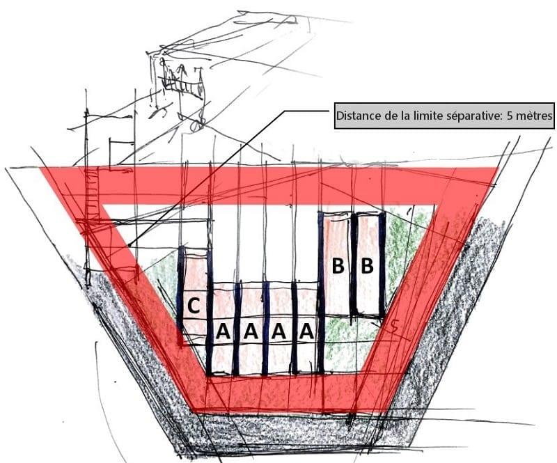 L'image représente une esquisse du lot des plans de maison mitoyennes, produit par Edificius logiciel de conception architecturale BIM
