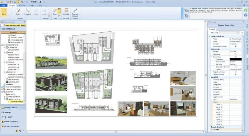 L'image représente les plans d'exécution du projet des plans de maisons mitoyennes avec coupes élévation planimétrie et rendu, produit avec le logiciel de conception architecturale BIM Edificius.