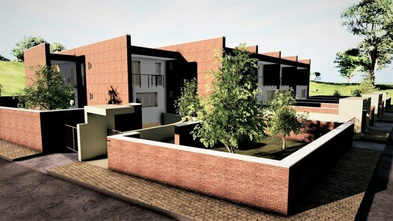 L'image représente l'entrée, on peut remarquer les briques rouges des murs et les plans de maison mitoyennes en quinconce, produit avec Edificius le logiciel de conception architecturale BIM.