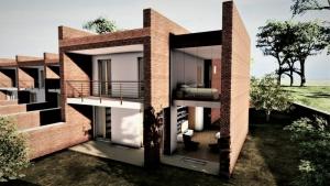 L'image représente un rendu du jardin d'une maison mitoyenne, on peut remarquer les briques rouges des murs et les plans de maison mitoyennes en quinconce, produit avec Edificius le logiciel de conception architecturale BIM.