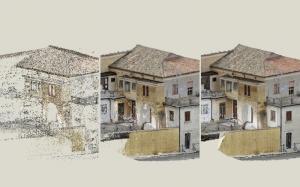 L'image représente un bâtiment existant , dans une première phase le bâtiment a été scannériser avec une méthode de balayage scanner pour produire des nuages de points, dans la deuxième le bâtiment viens reconstuit à l'aide des nuages de point et la troisième pressente le bâtiment reconstruit sous toute ses faces