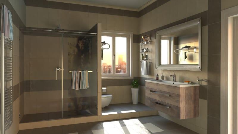 L'image représente un rendu avec l'intelligence artificielle, les détails de lumières et des jeux d'ombre sur dans un environnement d'une salle de bains produit par AIrBIM la nouvelle fonctionnalité de Edificius le logiciel de conception architecturale 3D BIM