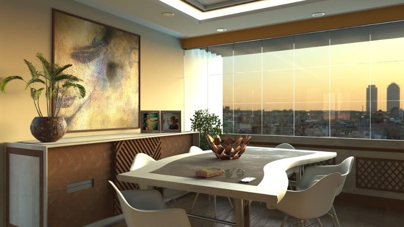L'image représente un rendu avec l'intelligence artificielle, les détails de lumières et des jeux d'ombre dans un salon AIrBIM la nouvelle fonctionnalité de Edificius le logiciel de conception architecturale 3D BIM