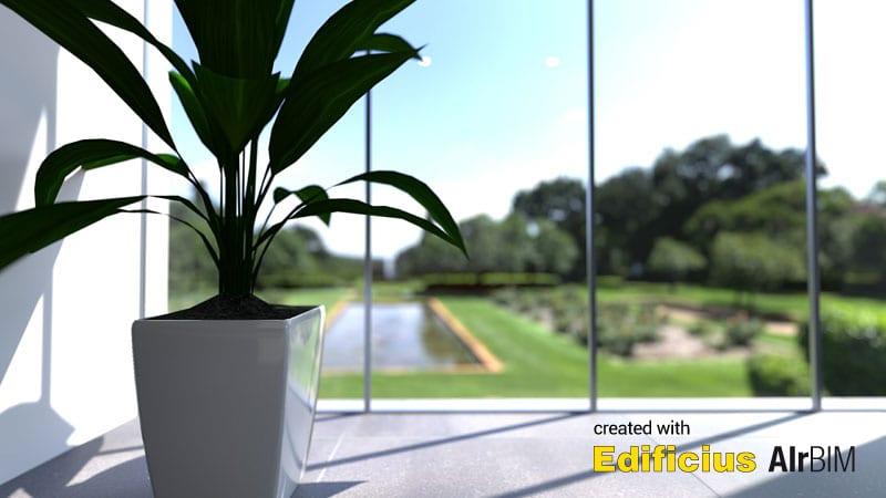 L'image représente un rendu avec l'intelligence artificielle, un détail de lumières et un jeu d'ombre sur un vase de plante sur une profondeur de champ produit par AIrBIM la nouvelle fonctionnalité de Edificius le logiciel de conception architecturale 3D BIM