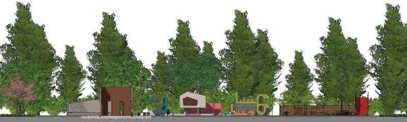 L'image représente la coupe A-A de l'aménagement de l'aire de jeux avec les différends jeux comme la cabane dans l'arbre, les numéros, le labyrinthe, le tobogan, la buvette, le rendu est produit par Edificius le logiciel de conception architecturale 3D BIM