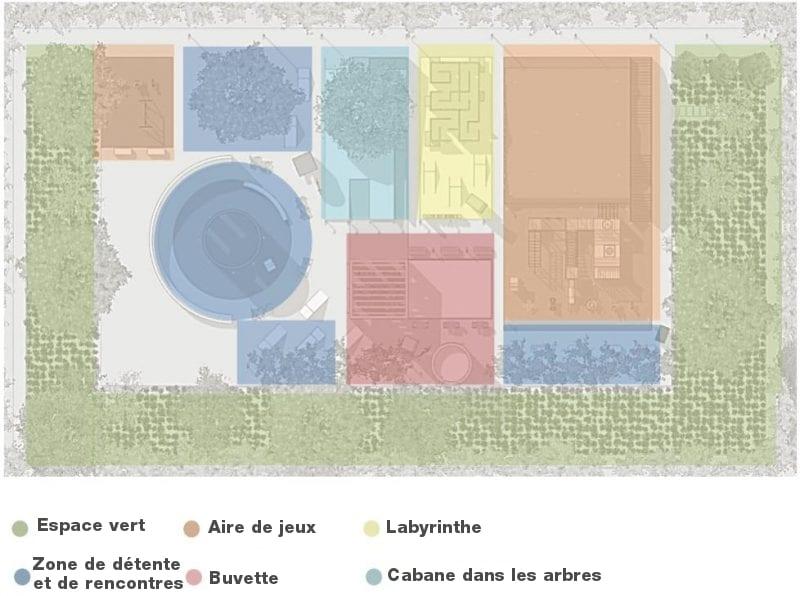 L'image représente l'aménagement de l'aire de jeux avec les couleurs comme référence aux jeux le bleu clair la cabane dans l'arbre, le vert clair pour le labyrinthe, le violet pour la buvette, le bleu pour la zone de détente et de rencontres, le rendu est produit par Edificius le logiciel de conception architecturale 3D BIM