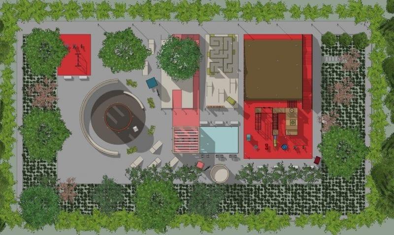 L'image représente l'aménagement de l'aire de jeux avec une vue en planimétrie les différends jeux comme la cabane dans l'arbre, les numéros, le labyrinthe, le tobogan, la buvette, le rendu est produit par Edificius le logiciel de conception architecturale 3D BIM