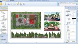 L'image représente les plans d'exécution de l'aménagement de l'aire de jeux avec avec les plans de coupes, d'élévation, planimétrie, produit par Edificius le logiciel de conception architecturale 3D BIM