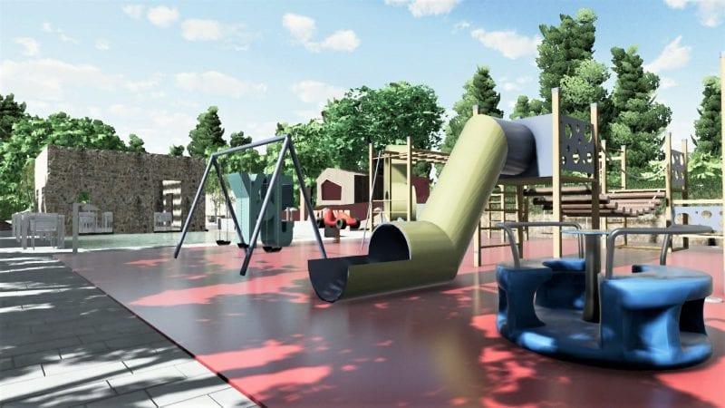 L'image représente l'aménagement de l'aire de jeux avec la balançoire, le toboggan, le tourniquet, la cabane dans l'arbre, le labyrinthe, le violet pour la buvette, le bleu pour la zone de détente et de rencontres et le revêtement de sols en caoutchouc, le rendu est produit par Edificius le logiciel de conception architecturale 3D BIM