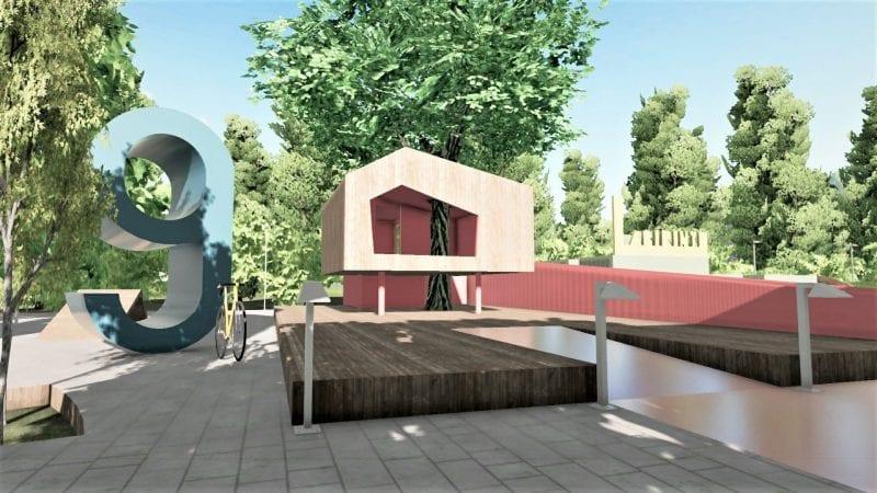 L'image représente le rendu de l'aménagement de l'aire de jeux avec la cabane dans l'arbre et le numéro 9 qui désigne les zones des aires de jeux, le rendu est produit par Edificius le logiciel de conception architecturale 3D BIM