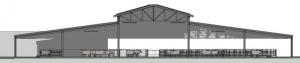 Vue de la Coupe A-A d'un bâtiment d'élevage, rendu produit par Edificius le logiciel de conception architecturale 3D BIM