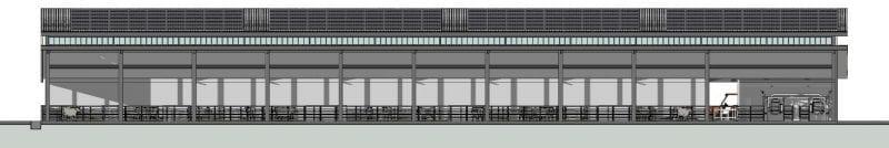 Vue de la Coupe B-B d'un bâtiment d'élevage, rendu produit par Edificius le logiciel de conception architecturale 3D BIM