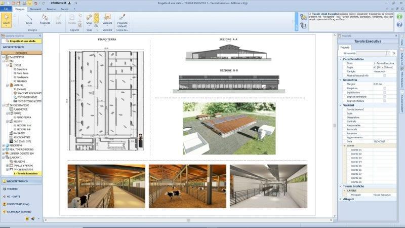 Les plans d'exécution d'un bâtiment d'élevage avec coupe, élévation, rendu, produit par Edificius le logiciel de conception architecturale 3D BIM