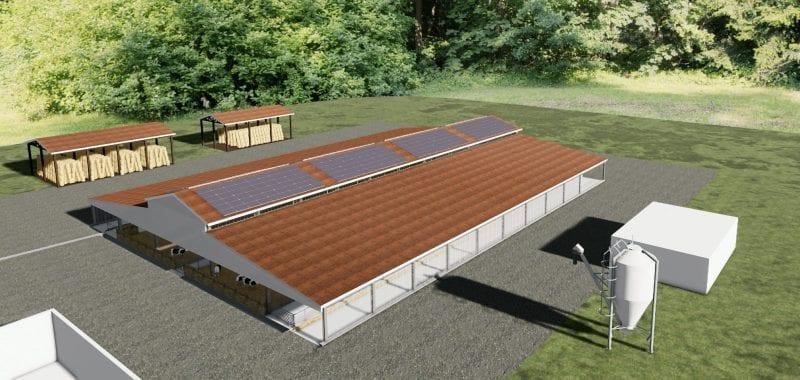 Rendu d'une perspective extérieure d'un bâtiment d'élevage avec l'installation de plusieurs champs photovoltaïques sur un pan de toit, rendu produit par Edificius le logiciel de conception architecturale 3D BIM