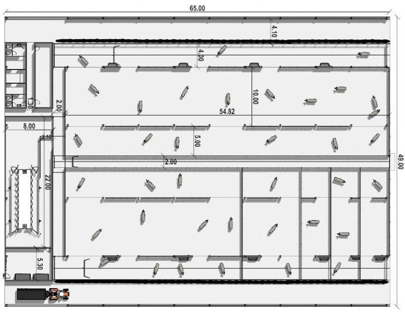 Vue en plan du bâtiment d'élevage avec les differents espace réserver au bovin comme l'abreuvage, les logettes, la zone d'exercices, la zone de stabulation, le rendu produit par Edificius le logiciel de conception architecturale 3D BIM
