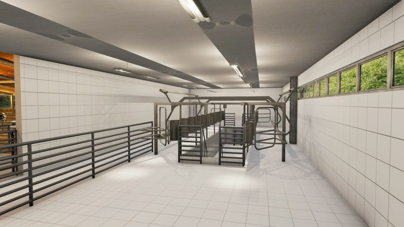 Vue en plan d'un bâtiment d'élevage avec la salle réservé au bovin pour la traite, le rendu produit par Edificius le logiciel de conception architecturale 3D BIM