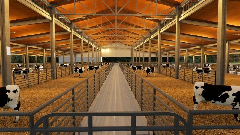 Rendu d'un bâtiment d'élevage avec sa rangée principale et l'espace fermer ou les bovins peuvent stabuler et se détendre sur un lit de paille, rendu produit par Edificius le logiciel de conception architecturale 3D BIM