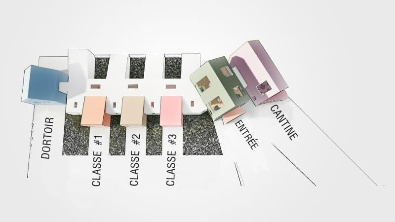 L'image illustre un schéma les plans de la crèche avec ses différents espaces, produit par Edificius le logiciel de conception architecturale BIM