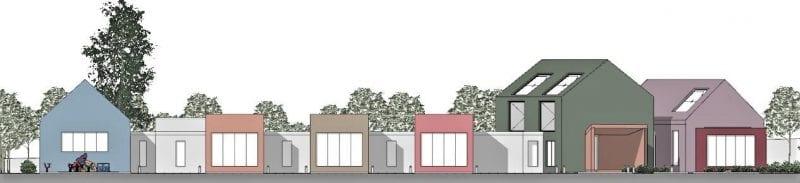 L'image illustre l'élévation les plans de la crèche avec ses différents espaces extérieure, produit par Edificius le logiciel de conception architecturale BIM