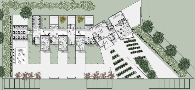 L'image illustre une coupe axonométrique les plans de la crèche depuis le haut, produit par Edificius le logiciel de conception architecturale BIM