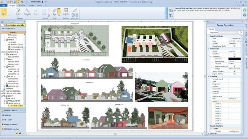 L'image illustre les différents plans d'exécutions des plans de la crèche, produit par Edificius le logiciel de conception architecturale BIM