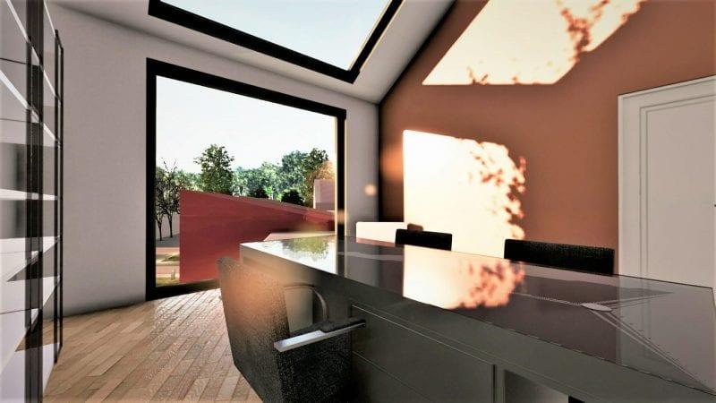 L'image illustre les plans d'une crèche de l'espace administratif, une grande fenêtre qui laisse passer la lumière naturelle et il y a aussi une table qui reflète la lumière extérieure, le rendu et produit par Edificius le logiciel de conception architecturale 3D BIM