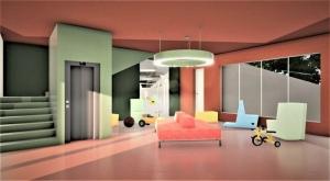 L'image illustre un rendu de l'espace commun ou l'on peut voir les différents jouets, une grande fenêtre qui laisse passer la lumière naturelle et il y a aussi un ascenseur qui arrive dans la pièce, le rendu et produit par Edificius le logiciel de conception architecturale 3D BIM