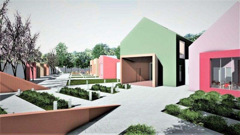 L'image illustre l'entrée les plans d'une crèche et ses couleurs de la façade peinte en vert et en rose avec le jardin extérieur, le rendu est produit par Edificius le logiciel de conception architecturale BIM