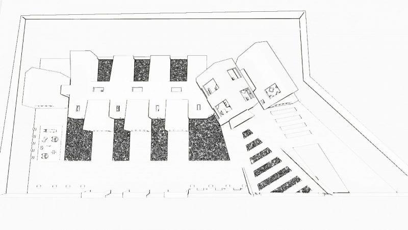 L'image illustre une esquisse les plans de la crèche avec ses différents espaces extérieure, produit par Edificius le logiciel de conception architecturale BIM