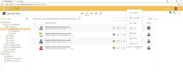 L'image est une capture d'écran des services de la plateforme collaborative BIM de usBIM.platform de ACCA software