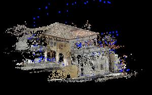 Drones bâtiments nuage de point éparpillé obtenu à partir d'un relevé photographique par drone, Edificius logiciel de conception architecturale 3D BIM