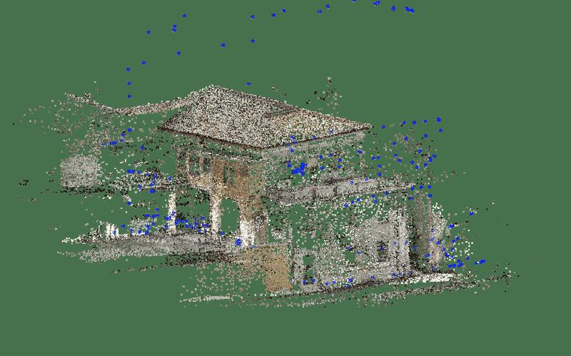 Drones bâtiment nuage de point éparpillé obtenu à partir d'un relevé photographique avec un drone, Edificius logiciel de conception architecturale 3D BIM