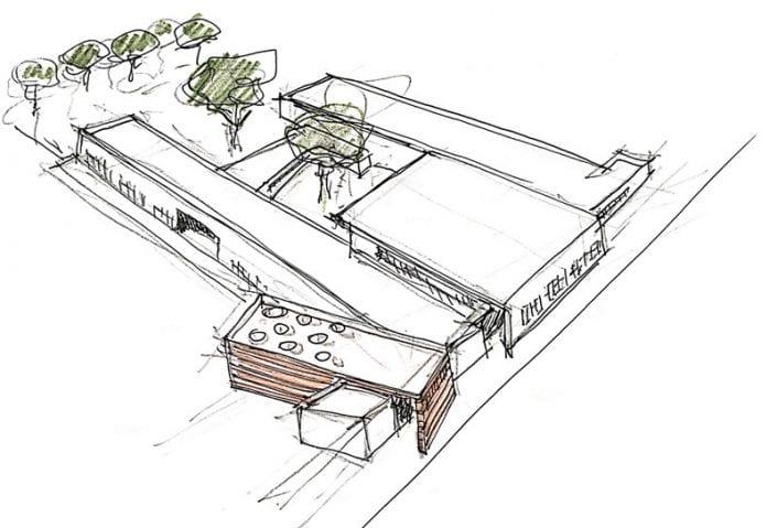 L'image représente l'esquisse planimétrique d'une architecture d'école primaire avec la distribution des blocs du bâtiment et la bibliothèque du quartier, Edificius logiciel BIM de conception architecturale.