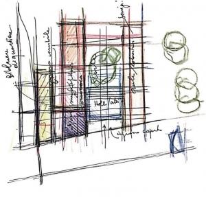 L'image représente l'esquisse planimétrique d'une architecture d'école primaire avec la distribution des blocs du bâtiment, Edificius logiciel BIM de conception architecturale.