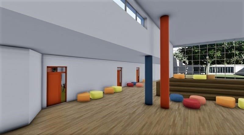 L'image représente le rendu de l'espace centrale d'une architecture d'école primaire l'espace donne accès aux différentes salles de classe, Edificius logiciel BIM de conception architecturale.