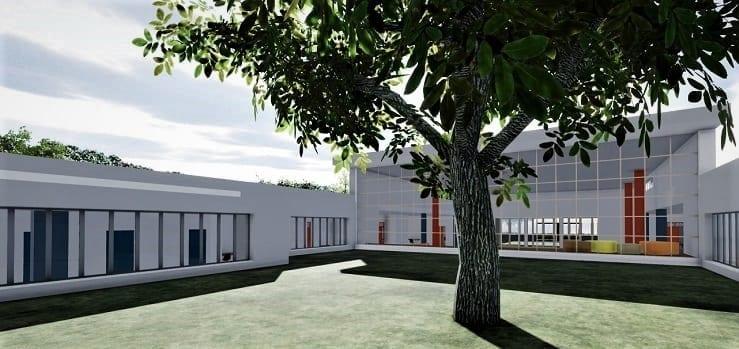 L'image représente le rendu de l'arrière-cour d'une architecture d'école primaire, réalisé avec Edificius logiciel BIM de conception architecturale.