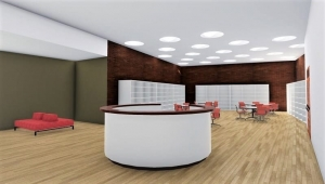 L'image représente un rendu de l'espace de la bibliothèque d'une architecture d'école primaire avec un îlot central comme réception, réalisé avec Edificius logiciel BIM de conception architecturale.