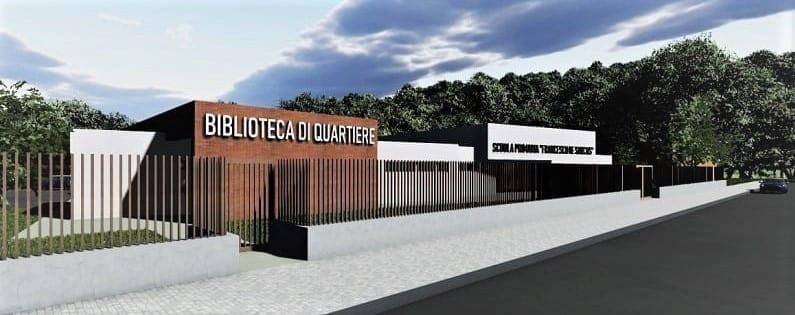L'image représente un rendu extérieur de la bibliothèque de quartier, architecture d'école primaire, realisé par Edificius logiciel BIM de conception architecturale.