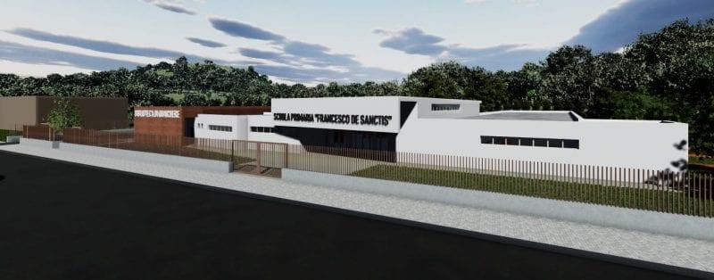 L'image représente le rendu d'une architecture d'école primaire, l'école se développe en longueur et sur 1 étage, réaliser avec Edificius logiciel BIM de conception architecturale.