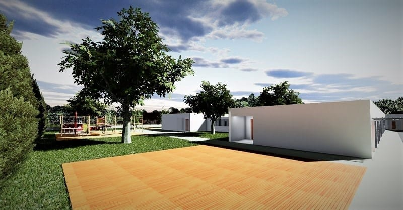 L'image représente le rendu d'une architecture d'école primaire, l'école se développe en longueur et sur 1 étage, il a aussi un jardin dans l'espace extérieure, réaliser avec Edificius logiciel BIM de conception architecturale.