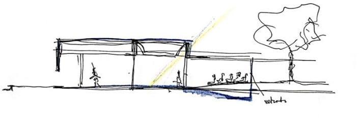 L'image représente l'esquisse de la hauteur du hall, architecture d'école primaire, Edificius logiciel BIM de conception architecturale.