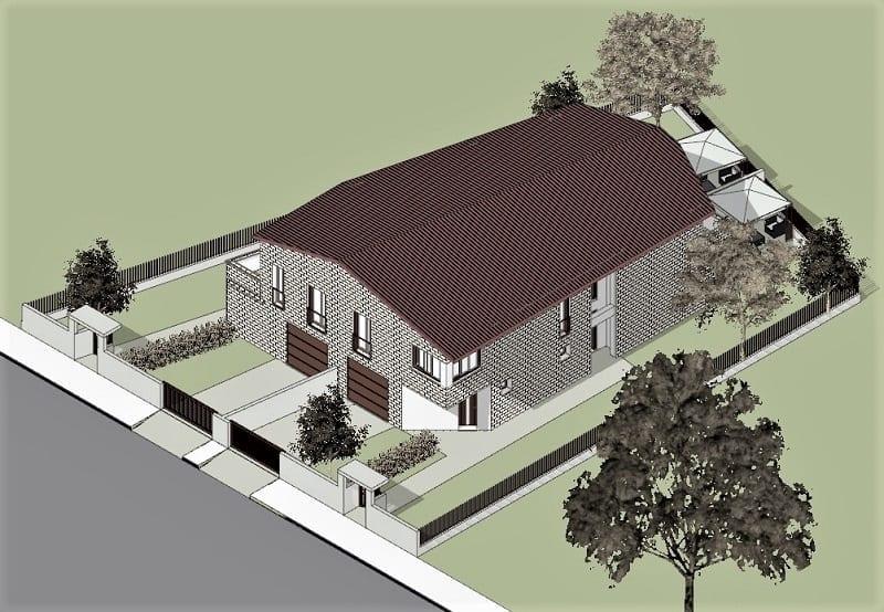 L'image représente un rendu extérieur d'une vue axonométrique, de plans d'une maison jumelée, réalisé avec Edificius logiciel de conception architecturale.