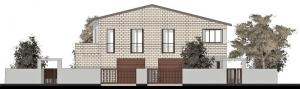 L'image représente les plans d'une maison jumelée en définissant l'élévation principale de la maison jumelée, réalisé avec Edificius logiciel de conception architecturale