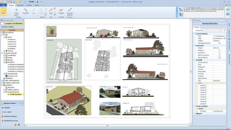 L'image est une capture d'écran du nœud des plans d'exécution du logiciel Edificius, les plans d'une maison jumelée réalisé avec Edificius logiciel de conception architecturale
