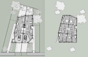 L'image représente les plans d'une maison jumelée en définissant la vue en plan du premier étage et la vue en plan du rez-de-chaussée, réalisé avec Edificius logiciel de conception architecturale