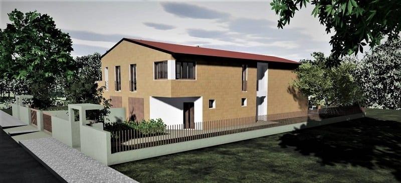L'image représente un rendu extérieur d'une vue en perspective du côté Nord-Ouest, plans d'une maison jumelée, réalisé avec Edificius logiciel de conception architecturale.