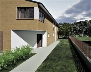 L'image représentent un rendu extérieur de l'angle de la maison avec son parcours pour le passage des piétons, plans d'une maison jumelée, réalisé avec Edificius logiciel de conception architecturale.