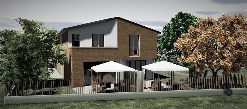 L'image est un rendu extérieur d'une maison jumelée illustrant les deux gazébo sur l'arrière de la maison côté jardin, réalisé avec Edificius logiciel de conception architecturale.