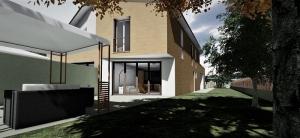 L'image représente un rendu de la maison A : vue en perspective du jardin côté sud-est, avec le gazébo dans le jardin, plans d'une maison jumelée, réalisé avec Edificius logiciel de conception architecturale.